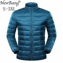 NewBang Chaqueta de plumas para hombre, chaqueta ultraligera, abrigo de invierno, soporte de plumas de pato, Collar de rompevientos, Parka con bolsa de transporte