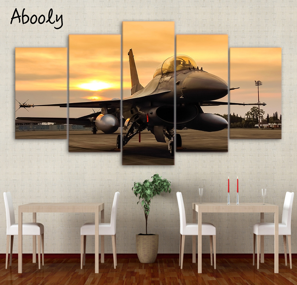5 Panel Wall Art On Canvas Space Airplane Sunset On Field Wall Pictures For Living Room Modern Picture Wild Horse Canvas Print