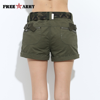 Brand Laides Shorts Women Casual Shorts Loose Pockets Zipper Military Army Green Large Size Summer Women Shorts Outdoors No Belt 2