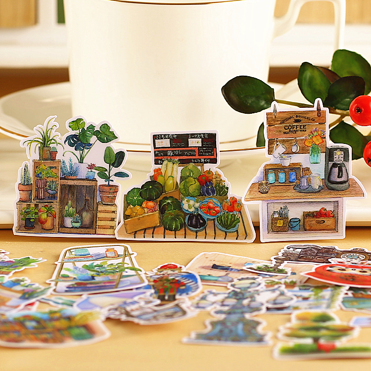 15pcs Creative Cute Kawaii Self-made Green Plants Scrapbooking Stickers /decorative Sticker /DIY Craft Photo Albums