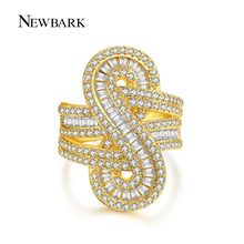 NEWBARK Brand Shiny Channel Set Statement Ring Hot Sale 2 Colors Infinite Big 8 S Shape CZ For Women Finger Rings Jewelry