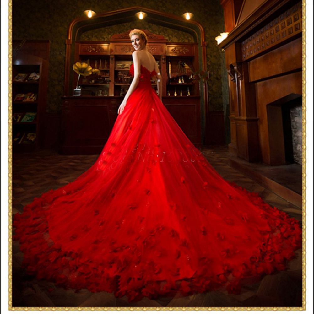 Robe De Mariage 2019 Off the Shoulde Red A-Line Wedding Dresses Train Sweetheart Red Bridal Wedding Gowns Vestido De Noiva Longo