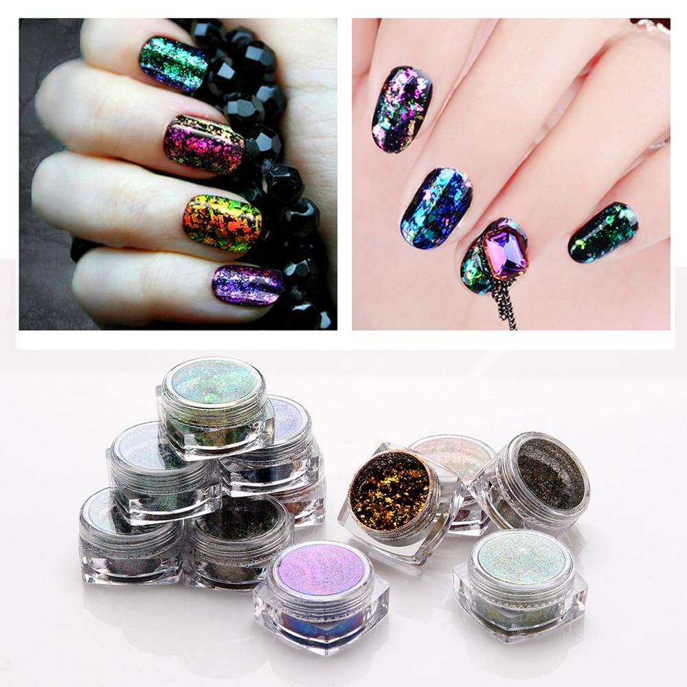 Makartt 20sets/lot Chameleon Nail Sequins 12 colors/set Nail Paillette Gorgeous Glitter Nail Decoration D1322X