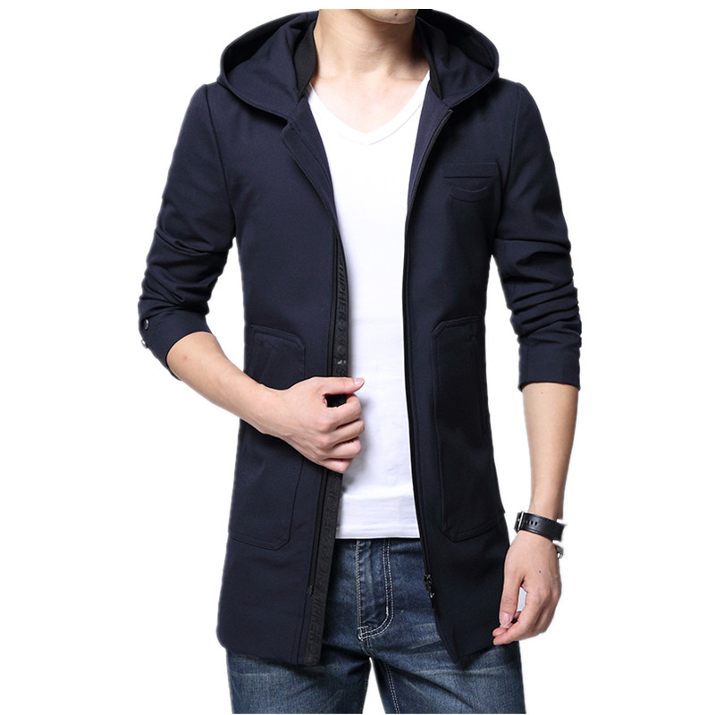 2017 spring new style Mens casual fashion hooded jacket trench coat Mens high quality coat jackets windbreaker men