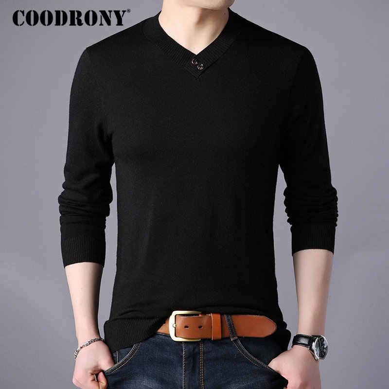 COODRONY Mnes Sweaters 2018 Autumn Winter New Arrivals Cashmere Wool Sweater Pullover Men Henry Collar Button V-Neck Pull Homme