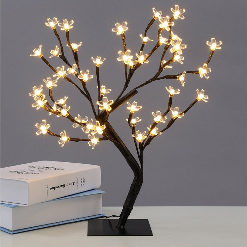 New Crystal Cherry Blossom Tree 36 LEDs 40CM Height Black Branches Night Lights for Christmas Party Wedding Table Decorations ...