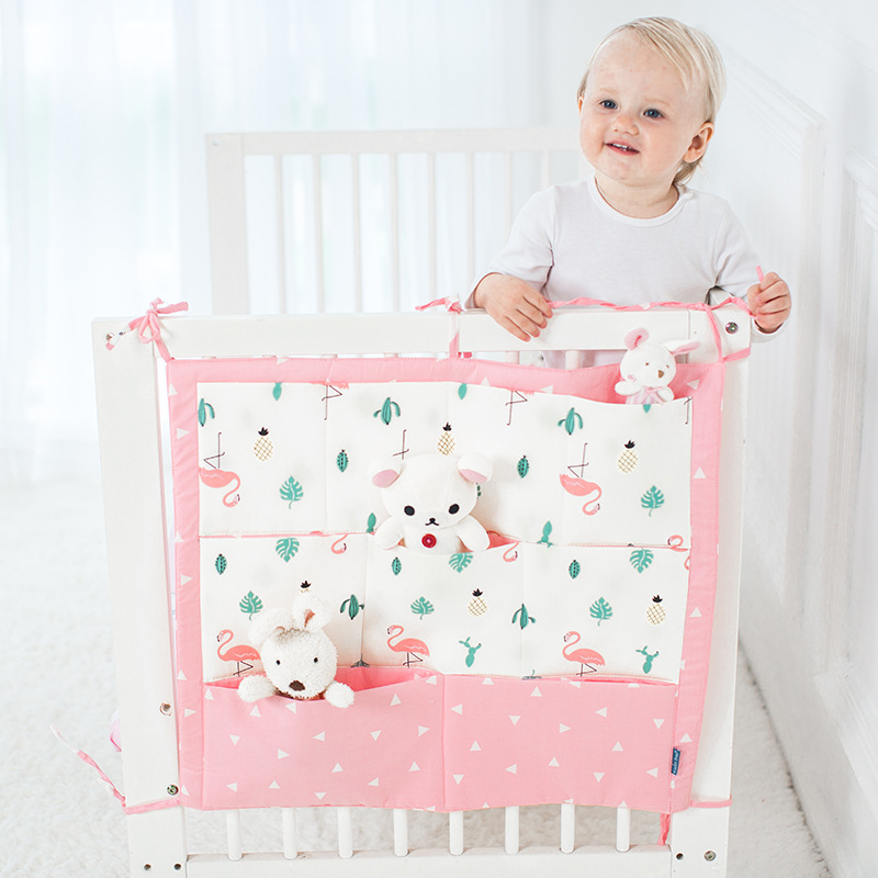 Baby Cot Bed Hanging Storage Bag Multi-functional 55*60cm Baby Safe Sleeping Baby Bed Bumpers Soft