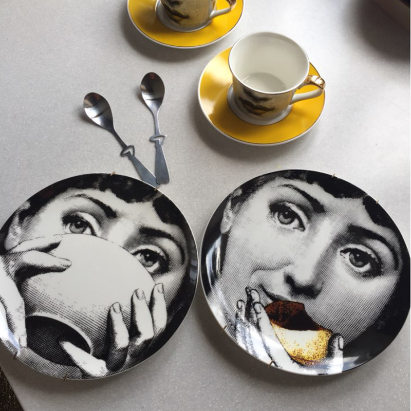 New Top Fashion Milan Piero Fornasetti Plates Color Black&white Illustration Hanging Dishes Sample Room/home/hotel Decoration
