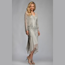 2015 Gorgeous Chiffon Mother Of The Bride font b Dresses b font With Jacket Lace Mid