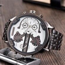 Oulm relógios masculinos, fuso horário grande quartzo tamanho grande relógio de pulso