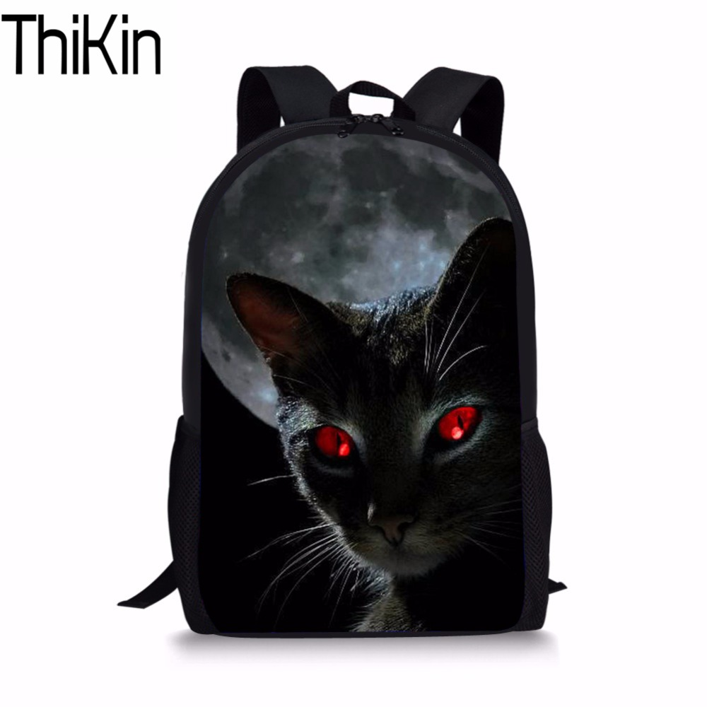 THIKIN Moon Black Cat Print Schoolbag Kids Boys Girls Book Bag Lovely Animal Daily Bag Teens Casual Bookbag for Children Mochila