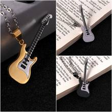 1pc Stainless Steel Music Rock Guitar Pendant Necklace Chain Necklace for Men Women Fashion Jewelry(China)