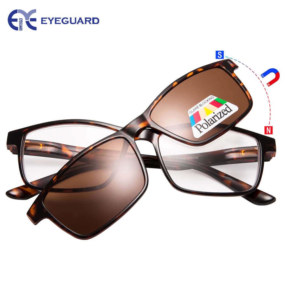6e4cc34fdf3 EYEGUARD Reading Glasses With A Magnetic Sunglasses Clip on Polarized Lens  Unisex-in Reading .