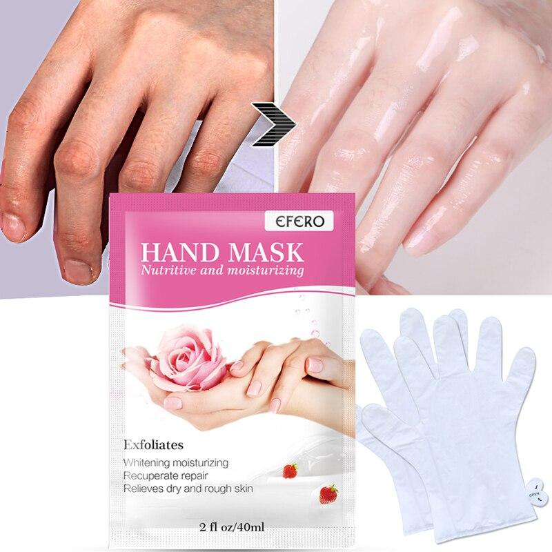 1Pair EFERO Moisturizing Hand Mask Exfoliating Peeling Mask for Hand Care Spa Gloves Whitening Hand Cream Scrub Remove Dead Skin