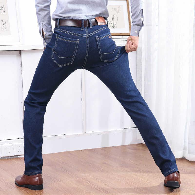 Зимние теплые фланелевые Стрейчевые джинсы мужские s зимние качественные известные брендовые флисовые брюки мужские прямые флокированные брюки джинсовые мужские