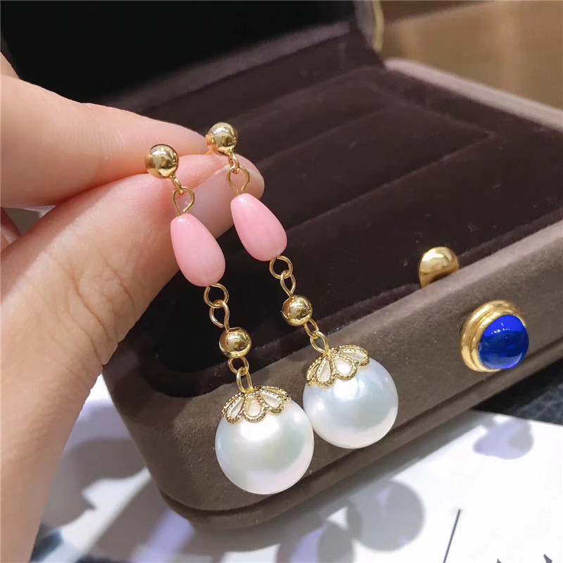New Design Pink Coral Collocation 12-13MM Very large Natural Baroque Pearl Dangle Earrings Women Wedding Party Exquisite Jewelry
