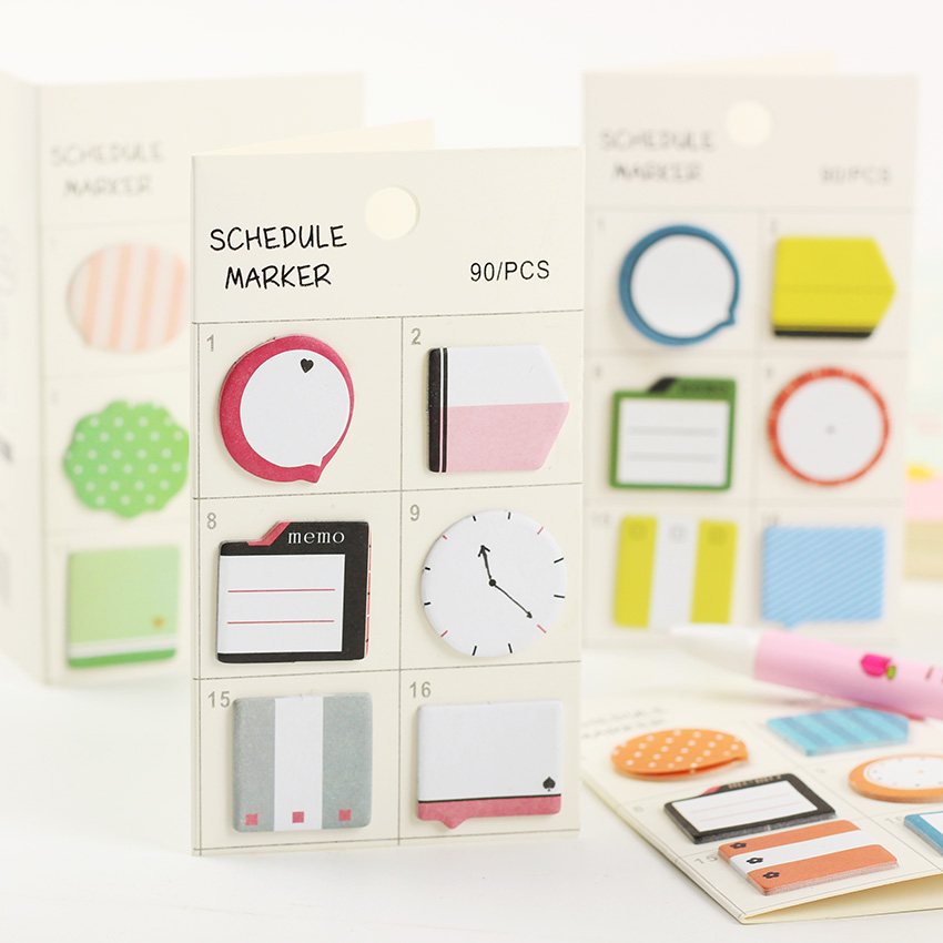 3 PCS/lot Fresh Style Schedule Marker Self Adhesive Memo Pad Sticky Notes Post It Bookmark Planner Stickers Office Stationery 1pc lot cute rabbit design memo pad office accessories memos sticky notes school stationery post it supplies tt 2766