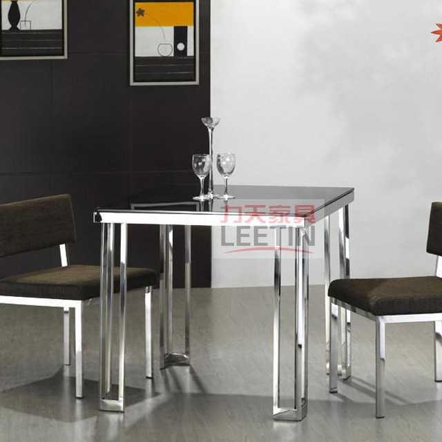 LEETIN Minimalist Modern Stainless Steel Furniture Creative Negotiation  Table Glass Dining Table Square Table Small Family