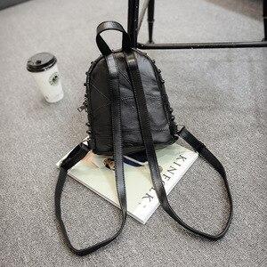 Image 3 - Mochila feminina pequena couro legítimo, bolsa escolar casual viagem preta