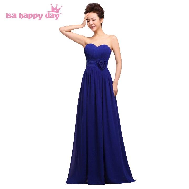 bridemaids womens a-line formal long blue   dresses   2019 strapless chiffon beach   bridesmaid     dress   under 100 for wedding H1182