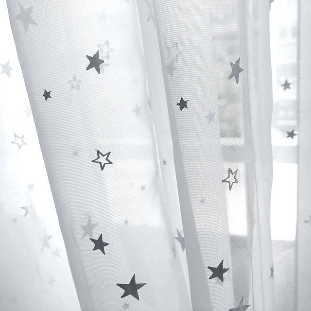Natura Bianco di Tulle Del Nastro Star Stampa A Caldo Terylene Sheer Tulle A Buon Mercato Trattamento di Finestra Pannello Per Camera Da Letto Garza WP234C