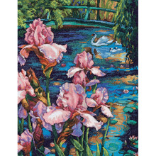 Gold Collection Counted Cross Stitch Kit Iris and Swan in the Lake Pond Flower dim 70-35264 35264
