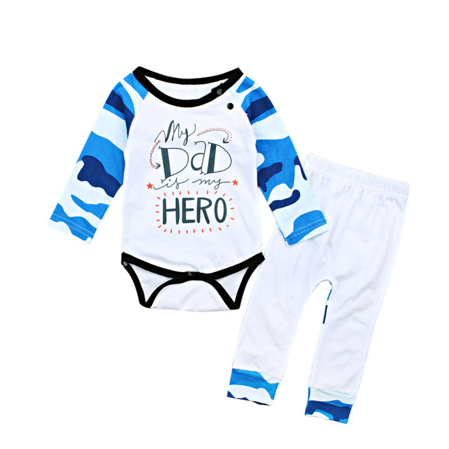 0f2cf3372609 Cute Newborn Infant Baby Girl Clothes Set My Dad Hero Printed Long Sleeve  Bodysuit+White Pants 2pcs Outfit Fashion Kids Sunsuit