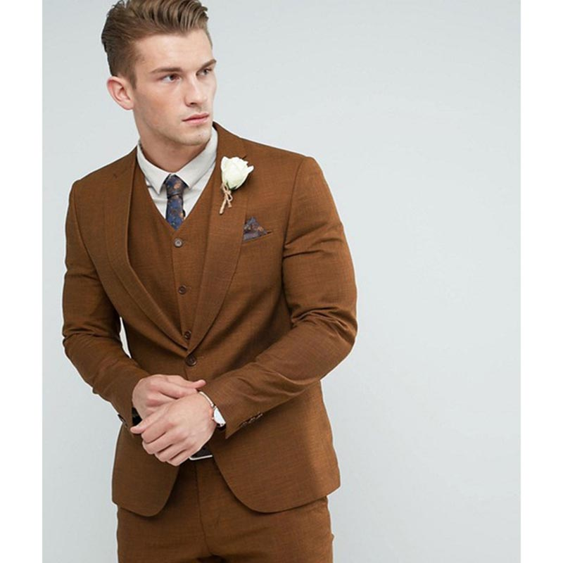 2017 Brown Men Skinny Suit England Custom Made Groom mens suits Tuxedos Groomsman Suit wedding suits for men (jacket+pants+vest)