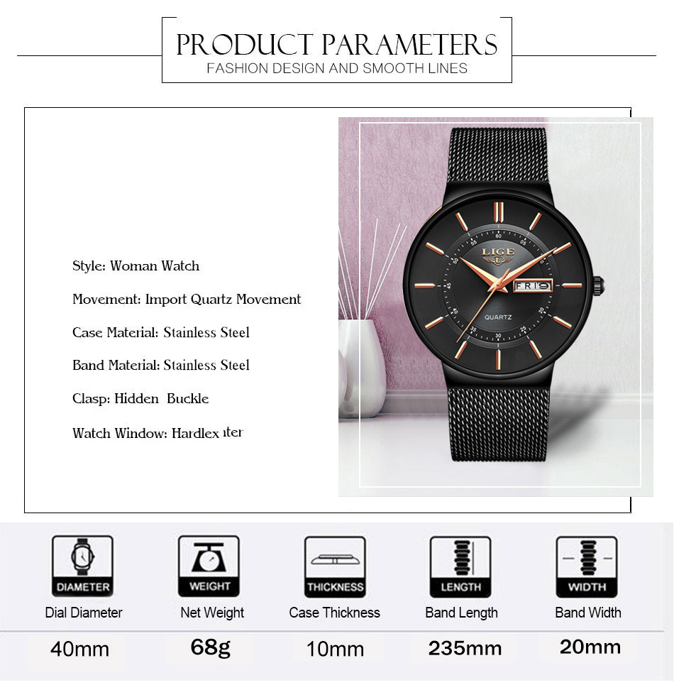 Mens Watches LIGE Top Brand Luxury Waterproof Ultra Thin Date Clock Male Steel Strap Casual Quartz Watch Men Sports Wrist Watch