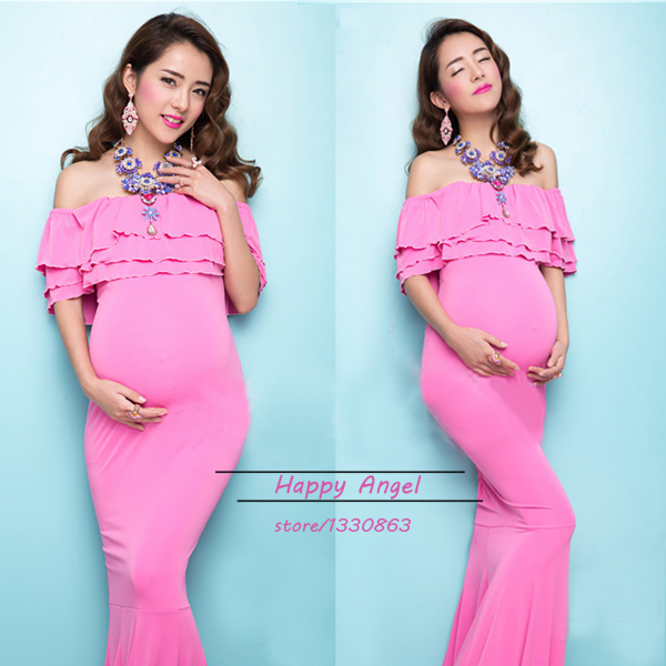 ФОТО New Maternity Pregnant Women Photography Props Mermaid Noble Dress Pink set Fashion Free shipping Baby Shower Photo Shoot