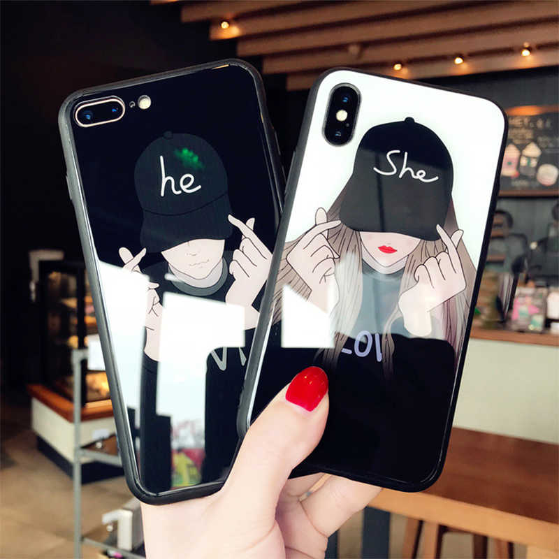 Fashion cool girl and boy Tempered Glass Case For iPhone XS MAX XR X Cover For iPhone 8 Plus 6 6s Plus 7 Plus Couple Phone Case
