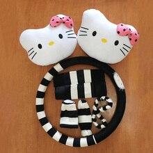 Cute Cartoon kitty Plush Car Accessories Set Car Steering Wheel Covers Headrest Seat Belt Cover Handbrake Gear Shift Cases 8pcs