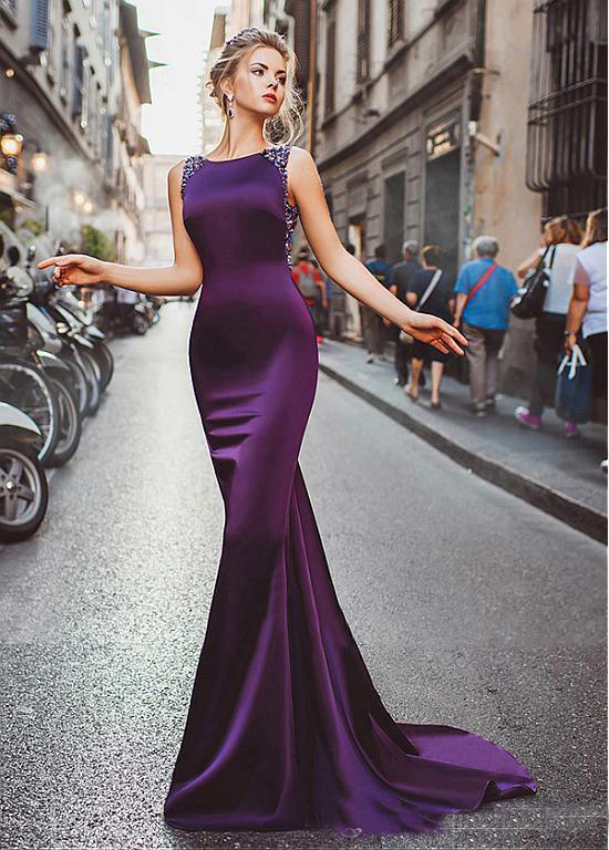 2019 Elegant Long Mermaid Evening Dresses Purple Satin Beads Illusion Back Sweep Train Formal Prom Gowns Special Occasion Wear