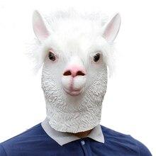 Novelty Halloween Costume Alpaca Latex Animal Head Mask Adult Full Face Sheep Cosplay