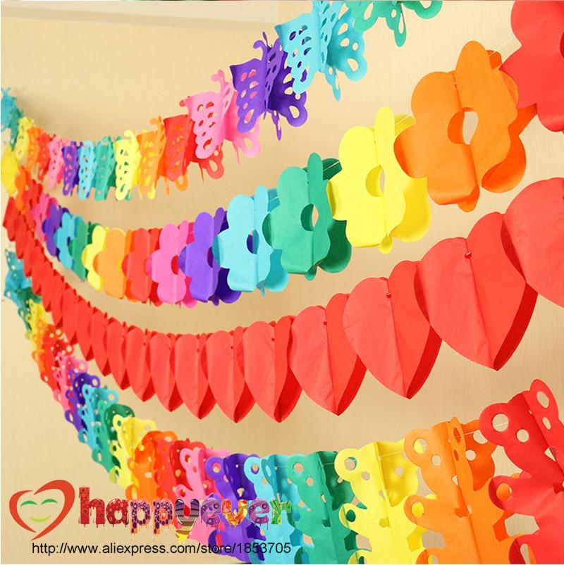 2pcs Set Multicolor Tissue Flower Garland Party Decoration