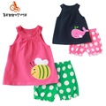 Baby Sets 2017 Summer Casual Girls Sleeveless O-neck Vest+Shorts Newborn Baby 2 Piece Set Kids Clothes Sets Cotton Suits