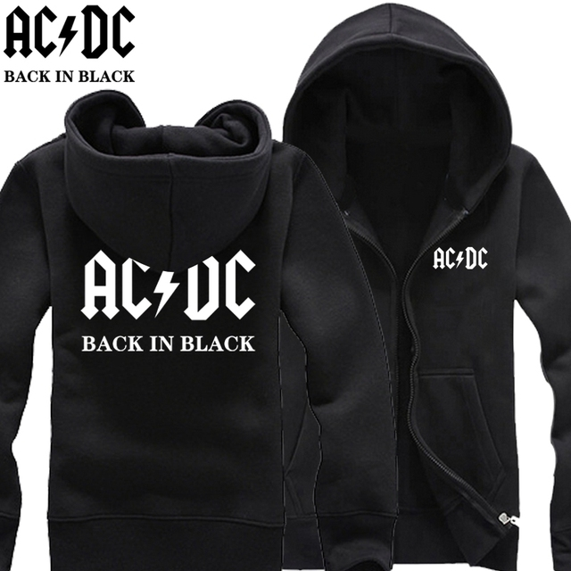 new 2017 free shipping ACDC AC/DC rock band back in black Australian Mlalcolm Young print letters man cardigan