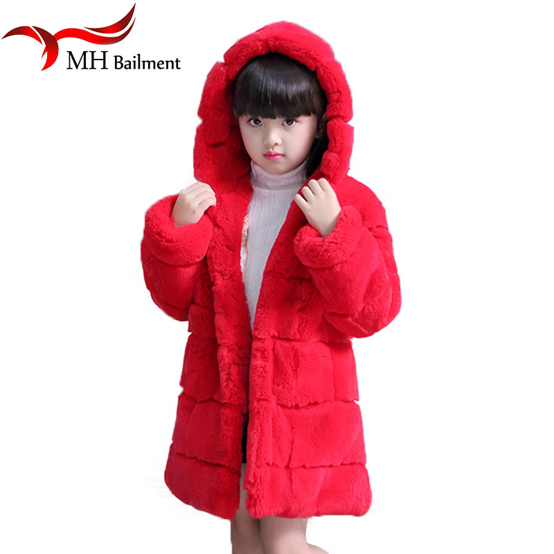2017 Children Real Rex Rabbit Fur Coat Girls Winter Warm Thick Long Section Clothing Full Solid Kids V-Neck Outerwear Coat C-12 children army coat real rabbit fur clothing winterreversible long parkas kids warm thick outerwear black jacket hooded coat c 7