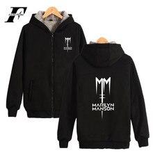 Музыка группы Marilyn Manson Толстая толстовка панк толстовка на молнии На зиму; высокого качества хлопковая теплая куртка плюс пальто хип поп-музыка