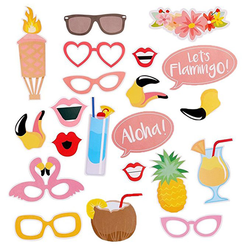 21pcs Luau Photo Booth Props Kit for Hawaii Themed Summer Party Supplies Tropical Tiki Summer Pool Party Decorations Supplies(China)