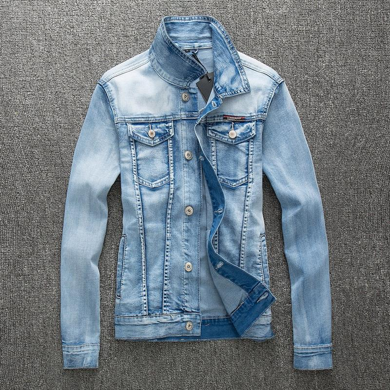 2017 autumn new stretch light blue denim jacket men