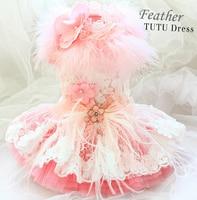 Free shipping dog clothes pink swan princess luxurious feather lace gorgeous tutu dog dress ropa perro mascotas roupa cachorro