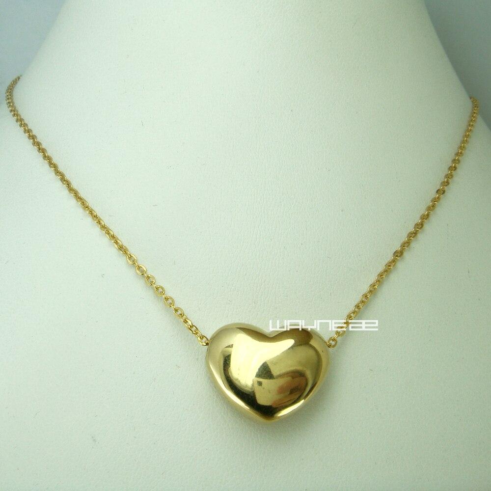 b1959d8154f1 Mujeres moda amarillo oro regalo para amante del acero inoxidable del  corazón collar N256