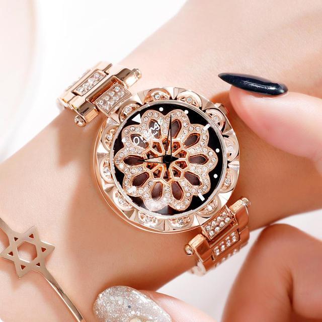 ORANGE Brand Top luxury Japan MIYOTA Quartz 360° Rotating Petals Women Watches Ladies Gifts Stainless Steel Waterproof Watches