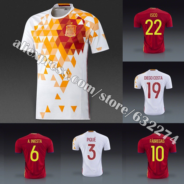 3ffdd6ba8 EURO Cup 2016 Spain home red away white soccer jersey 2016 Spain embroidery  logo XAVI TORRES FABREGAS INIESTA Ramos Silva ALONSO