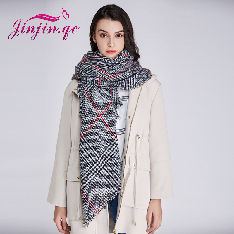 Jinjin.QC brand fashion women scarf plaid scarves and shawls winter warm pashmina echarpe foulard femme bandana drop shipping