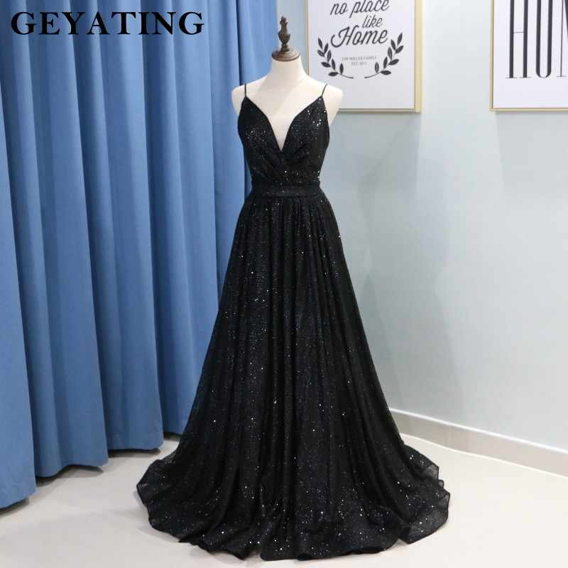 73e6ee764acf ... Sparkly Black Sequined Long Prom Dresses 2019 Sexy Spaghetti Straps  V-Neck Side Split Evening ...