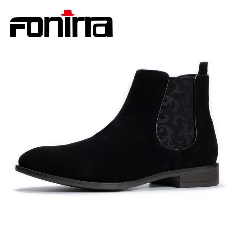 Fonirra New Style Males Chelsea Boots Ankle Boots British Model Slip On Motorbike Suede Excessive Prime Basic Males Boots Causal 416