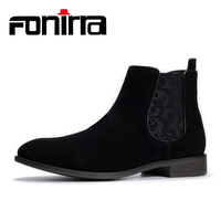 FONIRRA NEW Fashion Men Chelsea Boots Ankle Boots British Style Slip On Motorcycle Suede High Top Classic Men Boots Causal 416
