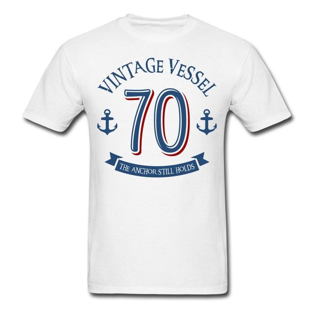 Nautical 70th Birthday Vintage Vessel Mens T Shirt Print Harajuku Short Sleeve Men Top Funny Design